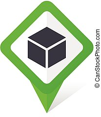 Box green square pointer vector icon in eps 10 on white background with shadow.