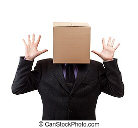 Box Head - Businessman with a brown box on his head, in...