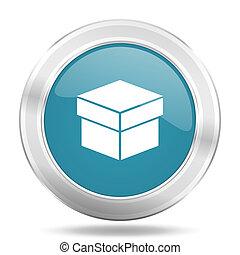 box icon, blue round glossy metallic button, web and mobile app design illustration