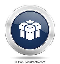 box icon, dark blue round metallic internet button, web and mobile app illustration