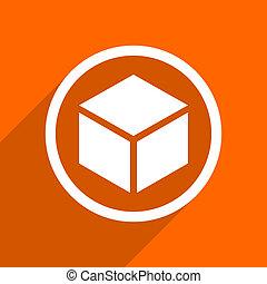 box icon. Orange flat button. Web and mobile app design illustration