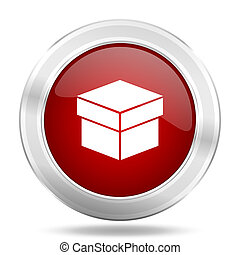 box icon, red round glossy metallic button, web and mobile app design illustration