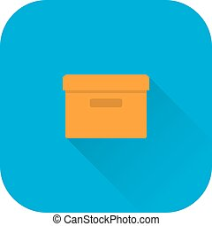 Box icon. Vector. Flat design with long shadow.