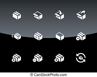 Box icons on black background.