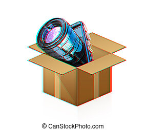 box., illustration., 3, anaglyph., se, kamera, 3d., synhåll, ute, red/cyan, glasögon