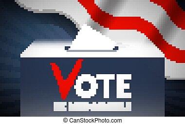 box., illustration., concept., scelta, vettore, politics., elezione, voto, mettere, votazione, scheda elettorale, fare, image.