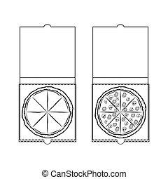 box., illustration., isolé, vecteur, conception, blanc, element., pizza