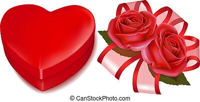 box., illustration., regalo, fondo., fidanzato, rose, vettore, giorno, rosso