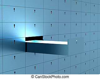 box., image., célula, segurança, depósito, abertos, 3d