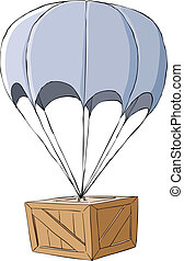 Box - Wooden box with a parachute, vector illustration
