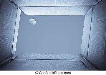 box., innenseite, himmelsgewölbe, draußen, pappe, full-moon, ansicht