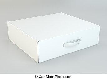 box., interpretazione, pacchetto, realistico, bianco, cartone, 3d
