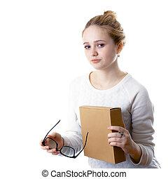 box., isolato, adolescente, fondo, ragazza, bianco, occhiali