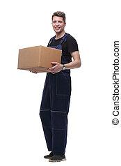 box., isolato, tuta, cartone, bianco, uomo