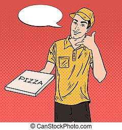 box., kunst, illustratie, aflevering, vector, knallen, vasthouden, man, pizza