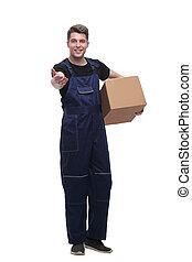 box., lavoratore, isolato, bianco, cartone, amichevole