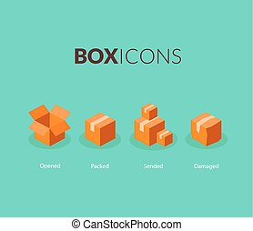 Box logo template, flat icons set