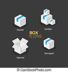 Box logo template, flat icons set