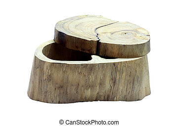 Box made from stump on white background