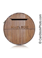 Box made ??of wood chips on a white background.