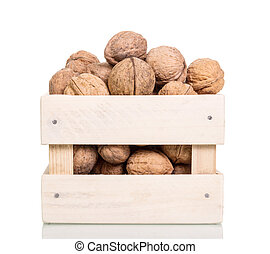 Box made of wood filled with walnuts isolated on white .