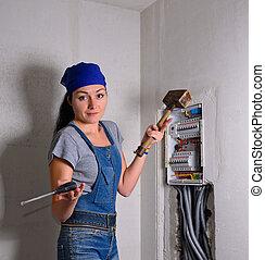 box, manželka, kladívko, elektrický, palice