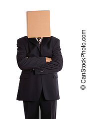 Box man arms folded - Anonymous businessman with his arms...