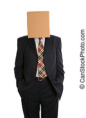 Box man hands in pockets - An anonymous businessman with a...