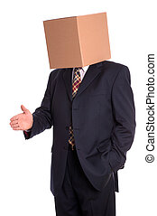 Box man handshake - Anonymous businessman with a box on his...