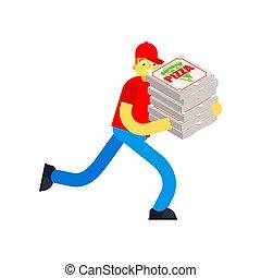 box., mann, läufe, laufen, vektor, isolated., pizza lieferung, abbildung