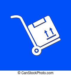 box., mano, cartone, camion
