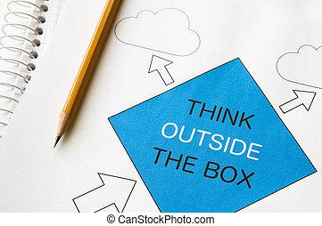 box, mimo, přemýšlet
