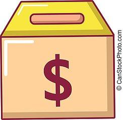 Box money icon, cartoon style