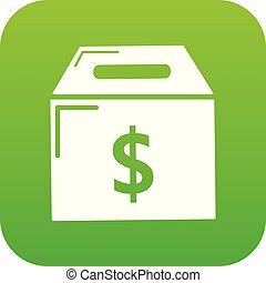 Box money icon green vector
