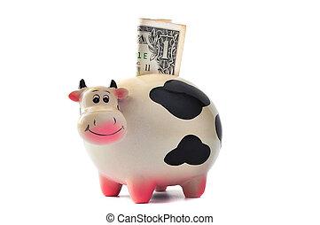 box., mucca, soldi, dollaro, 1, fondo, bianco