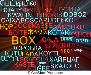 Box multilanguage wordcloud background concept glowing