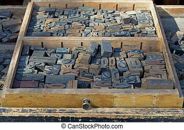 antique wooden letters