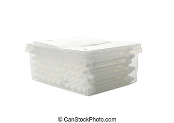 Box of baby ear sticks isolated on white background