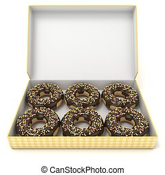 Box of chocolate donuts. Front view