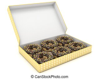 Box of chocolate donuts. Side view