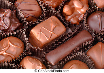 Box of Chocolates - A box of handmade chocolates. Focus =...