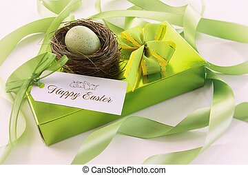 Box of chocolates and gift card for easter