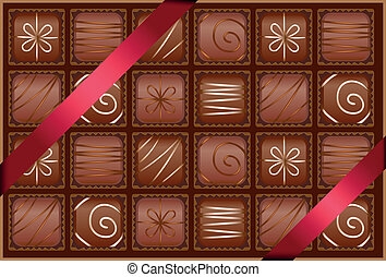 box of chocolates - with ribbons as a gift