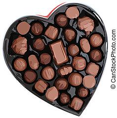 Heart shaped box of dark and light assorted chocolates. Vector Illustation.