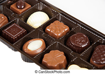 box of chocolates on a white background