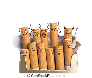 Box of cigarettes with Devil Face isolated on a white...