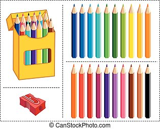 Box of Colored Pencils, 20 Colors - Big box of multicolor...