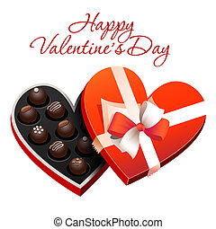 Box of heart shaped chocolates. Vector illustration.