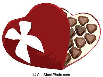 Box of Heart Shaped Chocolates Vector Illustration