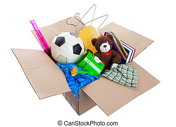 Box of Junk - A box of unwanted stuff ready for a garage ...